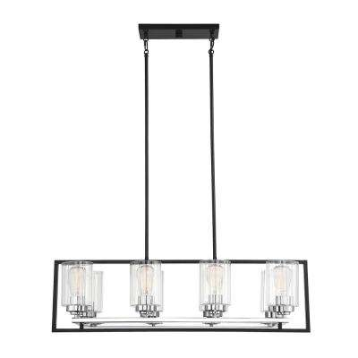 8-Light Matte Black with Polished Chrome Accents Chandelier with Clear Ribbed Glass