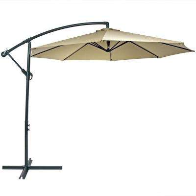 10 ft. Stainless Steel Offset Cantilever Patio Umbrella in Beige