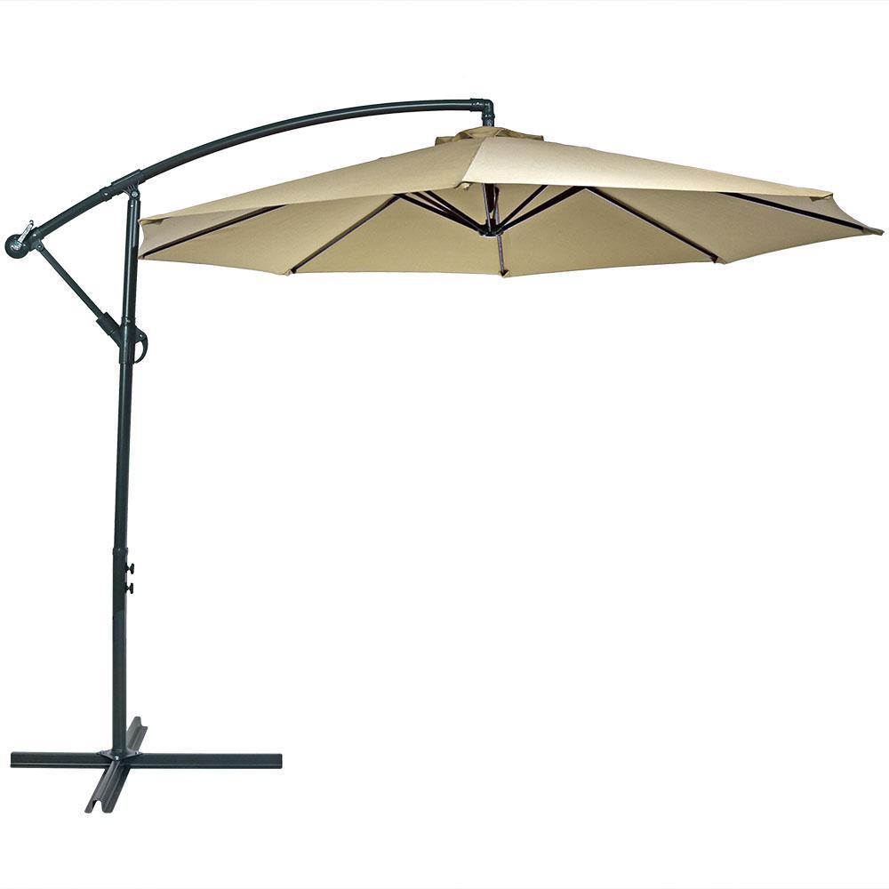 10 ft. Steel Offset Cantilever Patio Umbrella in Beige