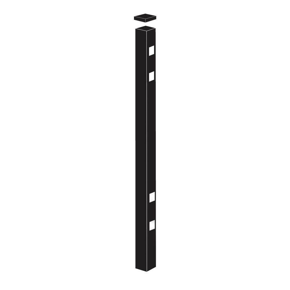 2 in. x 2 in. x 8-7/8 ft. Cascade Standard-Duty Black Alu...