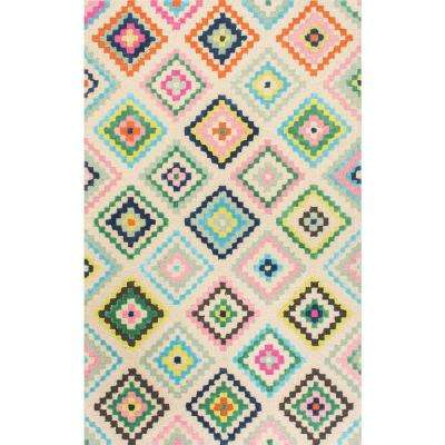 Tribal Diamond Orval Ivory 4 ft. x 6 ft. Area Rug