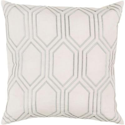 Avalon Ivory Geometric Polyester 18 in. x 18 in. Throw Pillow