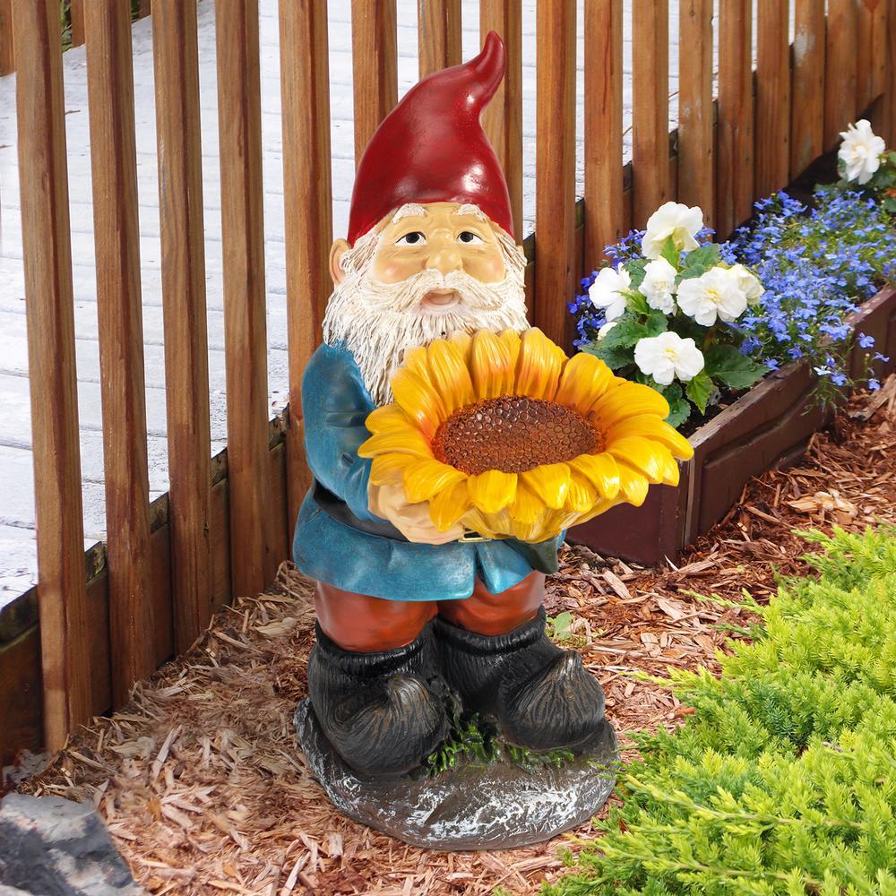 Design Toscano 11.5 in. H Sunflower Sammy Garden Gnome ...