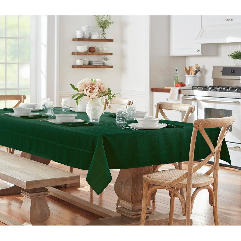 52 in. W x 52 in. L Holly Green Elrene Elegance Plaid Damask Fabric Tablecloth