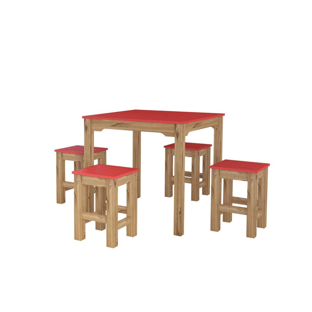 Stillwell 31.5 in. 5-Piece Red and Natural Wood Square Dining Set