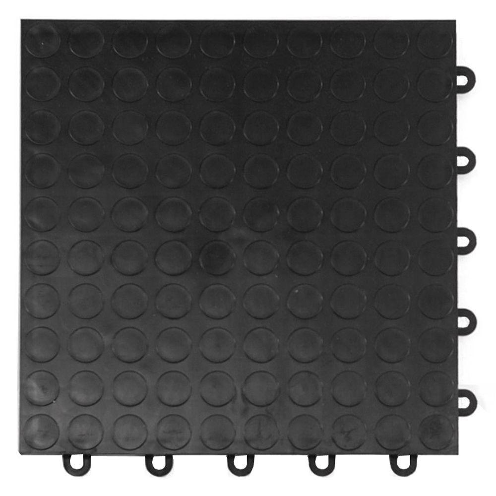 Coin Top 1 ft. x 1 ft. x 5/8 in. Black Polypropylene Interlocking Garage Floor Tile (Case of 24)