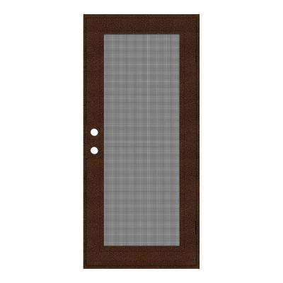 30 in. x 80 in. Full View Copperclad Right-Hand Surface Mount Security Door with Meshtec Screen