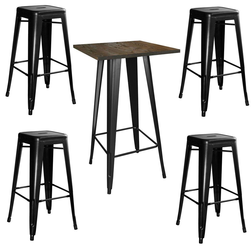 Amerihome Loft Style 24 In X Bar Table Set Black With