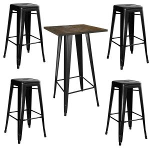 AmeriHome Loft Style 24 inch x 24 inch Bar Table Set in Black with Stackable Metal Stools (5-Piece) by AmeriHome