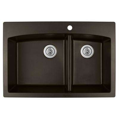 Drop-In Quartz Composite 33 in. 1-Hole 60/40 Double Bowl Kitchen Sink in Brown
