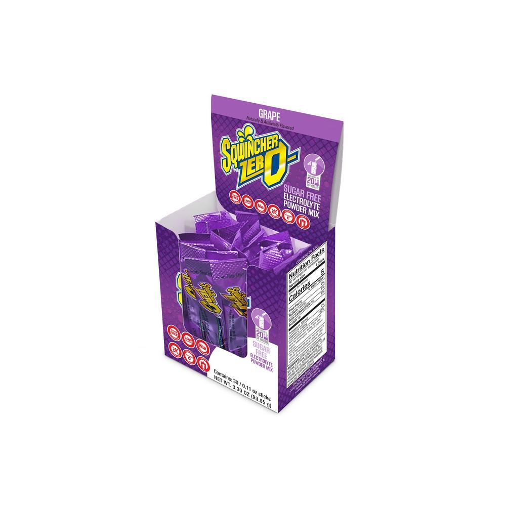 Sqwincher Zero Sugar Qwik Stik Single Serve 0.11 oz. Grape Electrolyte Drink Mix Powder (120-Stiks per Case)
