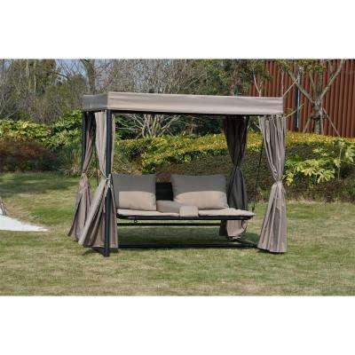 Heminger Taupe Steel Double Outdoor Patio Chaise Lounge Swing Bed Sunbed with Canopy