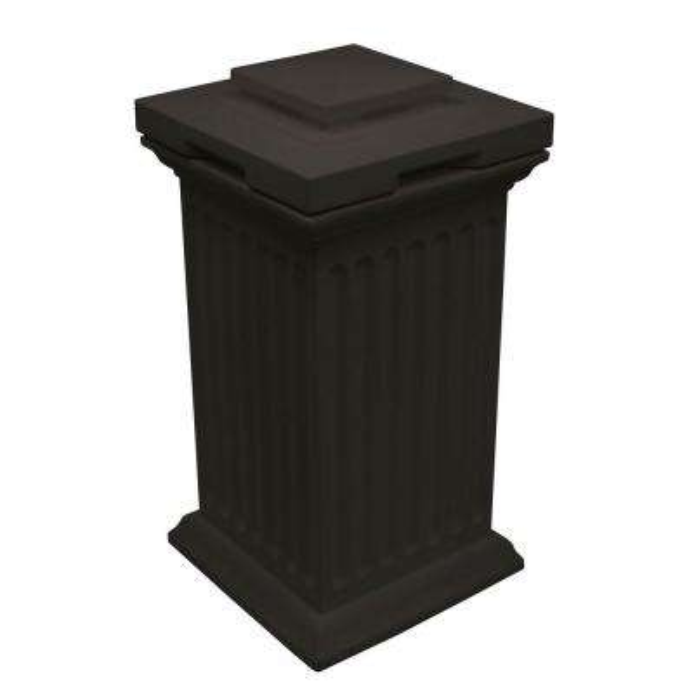 Savannah 30 Gal. Black Column Trash Can and Storage Bin