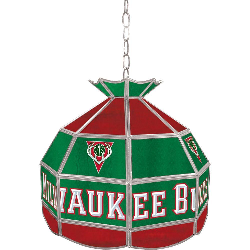 Trademark Milwaukee Bucks NBA 16 in. Nickel Hanging Tiffany Style Lamp