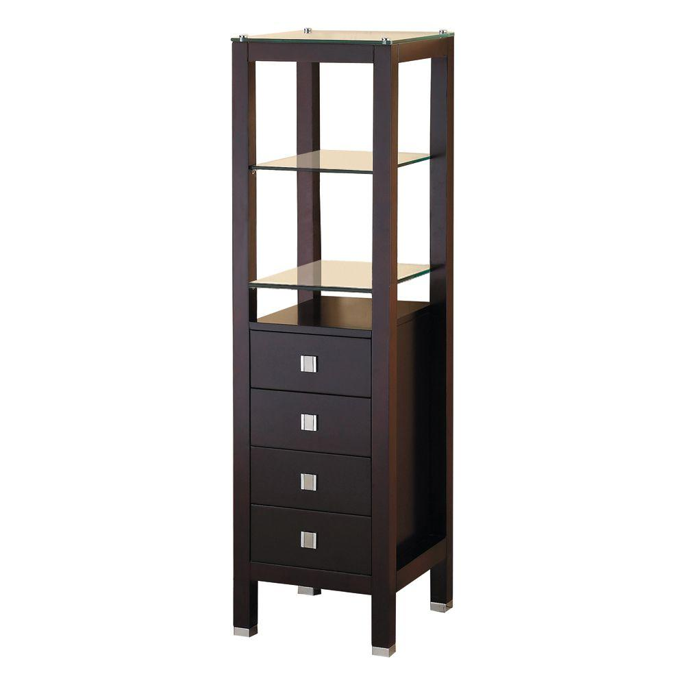 Virtu Usa 16 1 4 In W X 58 1 4 In H X 16 In D Bathroom Vanity Side Cabinet In Espresso Mdc