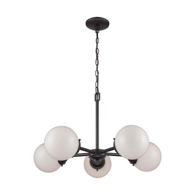 Beckett 5-Light Oil Rubbed Bronze Chandelier With Opal White Glass Shades