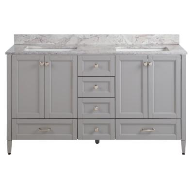 Claxby 61 in. W x 22 in. D Bath Vanity in Sterling Gray with Stone Effect Vanity Top in Winter Mist with White Sink