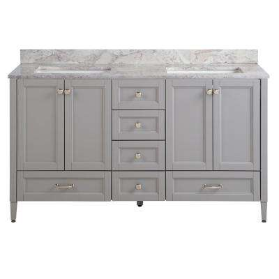 Claxby 61 in. W x 22 in. D Vanity in Sterling Gray with Stone Effect Vanity Top in Winter Mist with White Sink