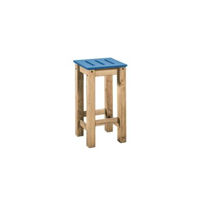 Stillwell 24.8 in. Tall Blue and Natural Wood Barstool (Set of 2)
