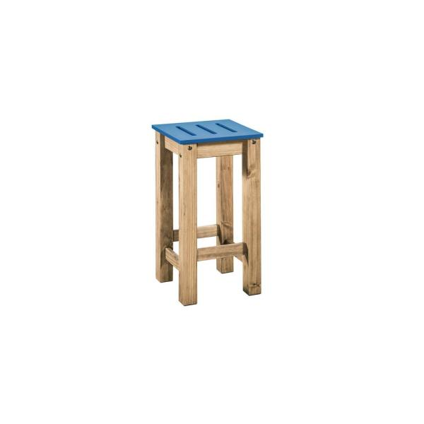 Manhattan Comfort Stillwell 24.8 in. Tall Blue and Natural Wood Barstool