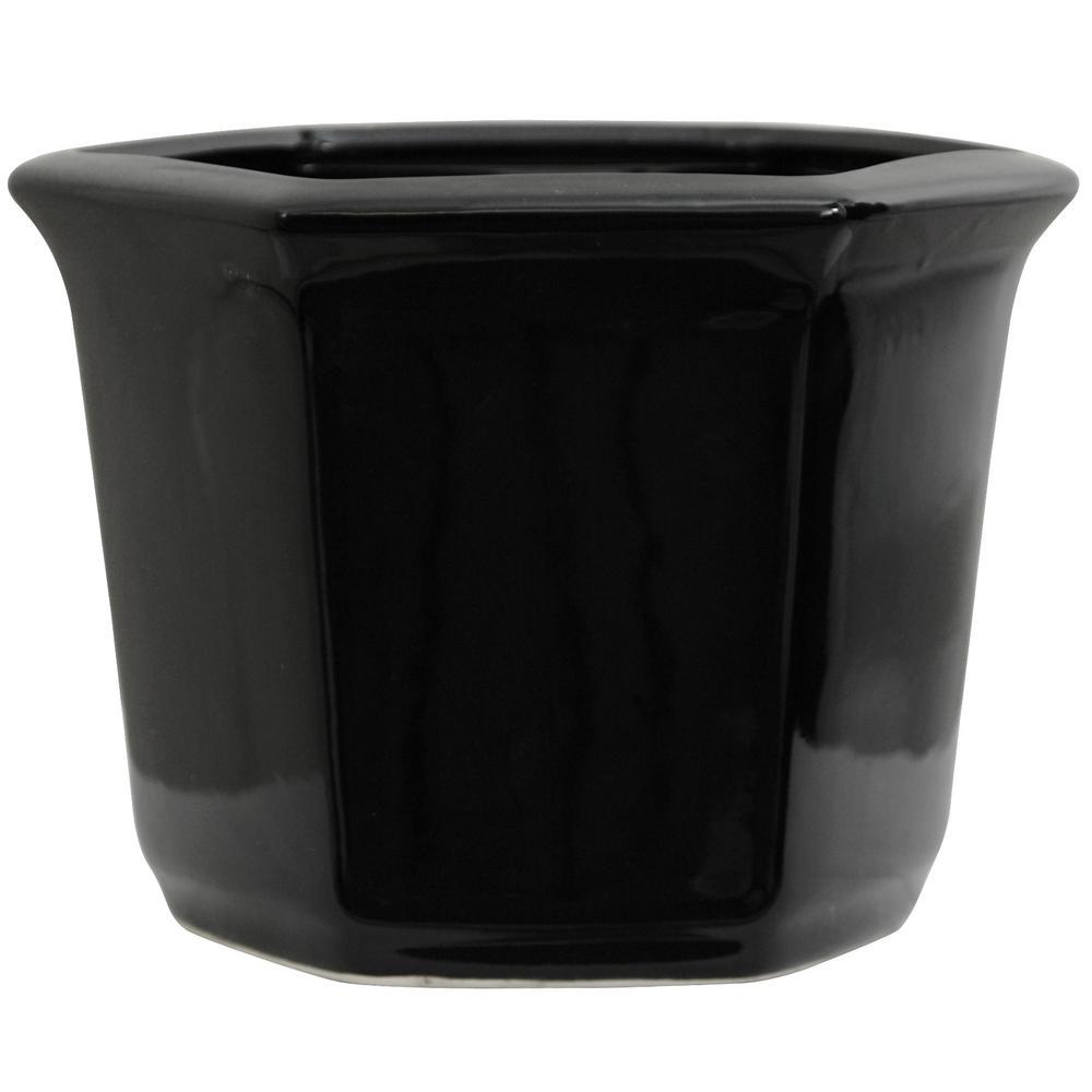 Oriental Furniture 10 in. Solid Black Porcelain Flower Pot