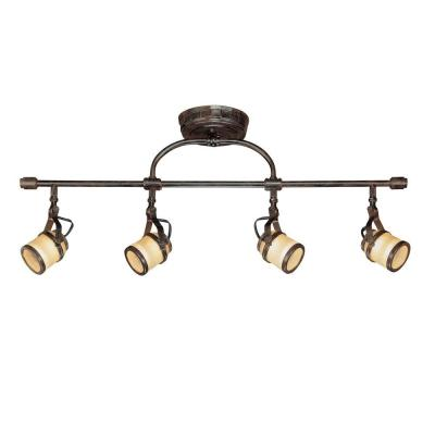 4-Light Iron Oxide Straight Bar with Chiseled Glass Shades