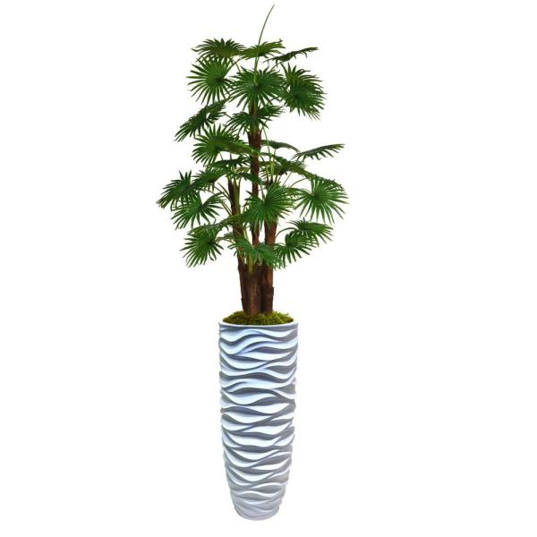 88 in. Tall Fan Palm Tree Faux Decor with Burlap Kit in Resin Planter