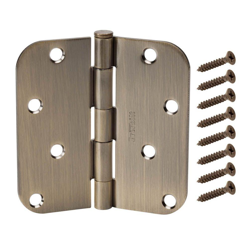 Everbilt 4 in. Antique Brass 5/8 in. Radius Door Hinge