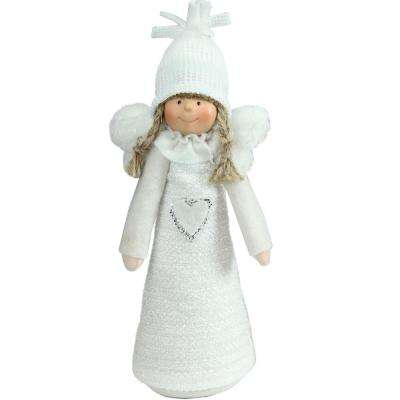 12 in. White Snowy Woodlands Girl Angel Christmas Tabletop Figure