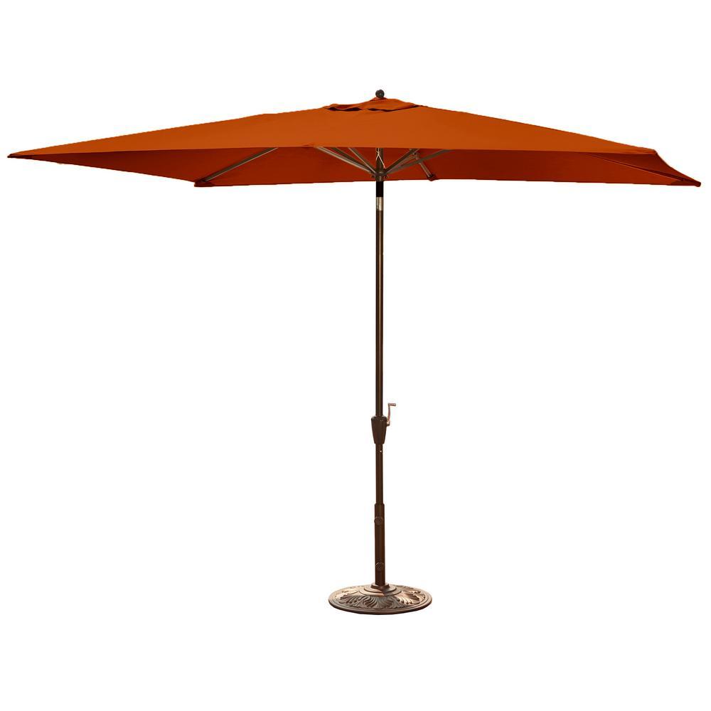 Rectangular Aluminum Market Auto Tilt Patio Umbrella In Terra Cotta Olefin
