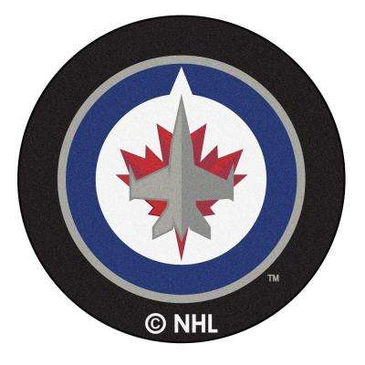 Winnipeg Jets Black 2 ft. x 2 ft. Round Area Rug