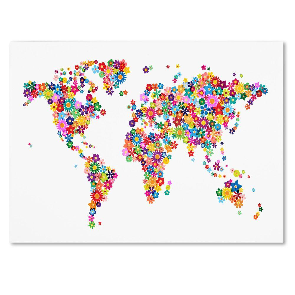 "Trademark Fine Art 22 in. x 32 in. ""Flowers World Map 2"" Canvas Art"