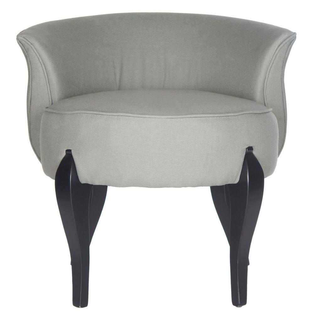 Mora Sea Mist and Black Linen Vanity Chair