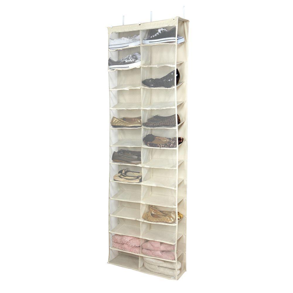 26 Shelf Cream Over The Door Shoe Rack