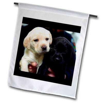 Dogs Labrador Retriever 1 ft. x 1-1/2 ft. Black and Yellow Lab Puppies Flag