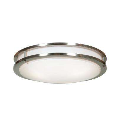 Solero 18 in. 3-Light Brushed Steel Flush Mount with White Diffuser