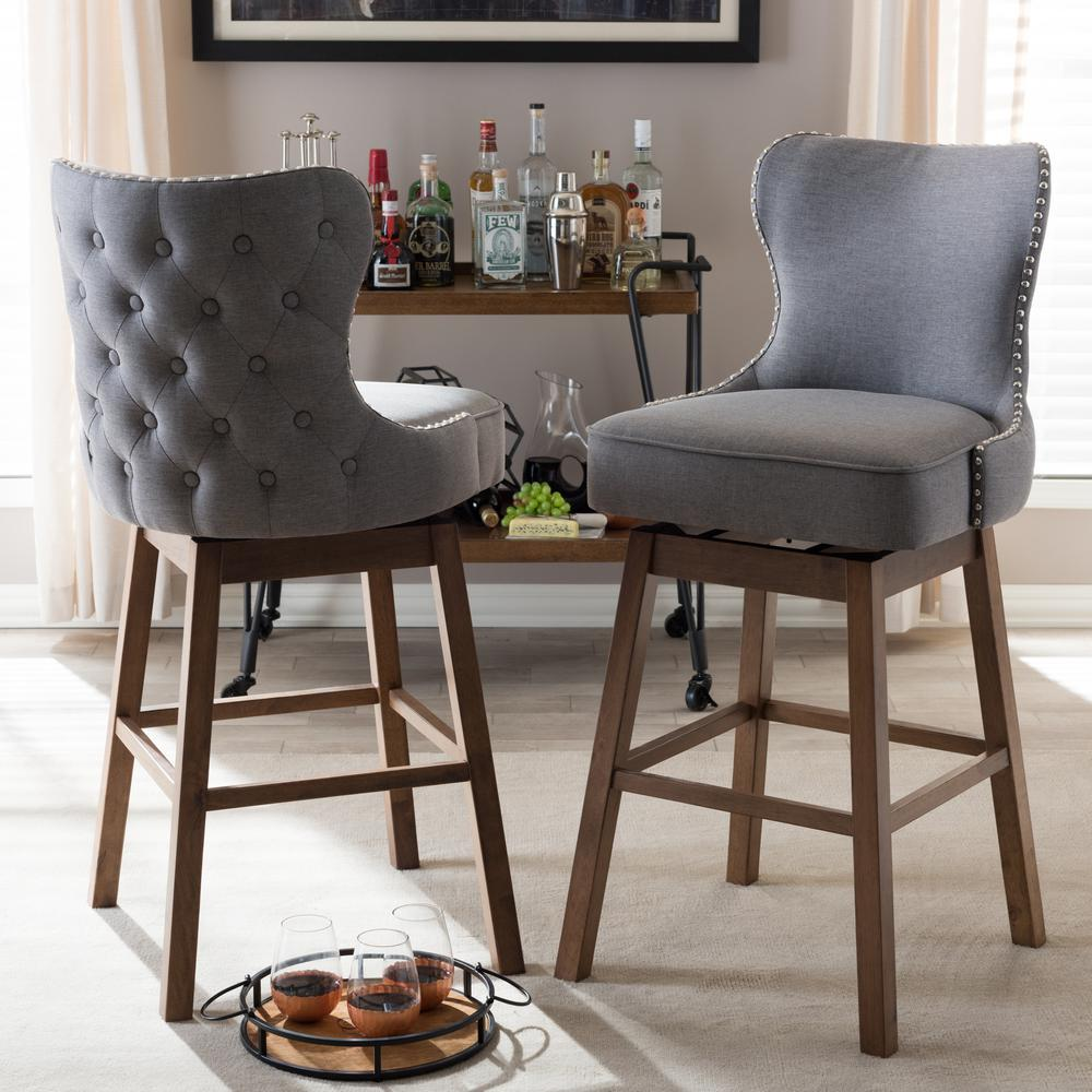 Gray Fabric Upholstered Swivel Bar Stool (Set Of 2) 2PC 7073 HD   The Home  Depot