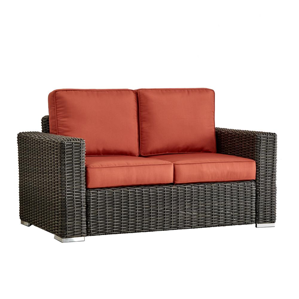Homesullivan Charcoal Square Arm Wicker Outdoor Loveseat Red Cushion