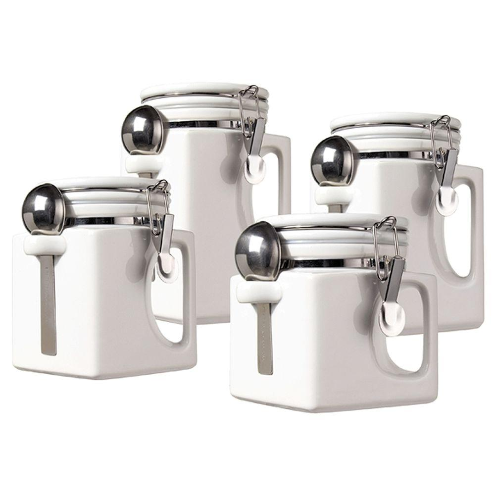 Ceramic EZ Grip Handle Canister in White (Set of 4)