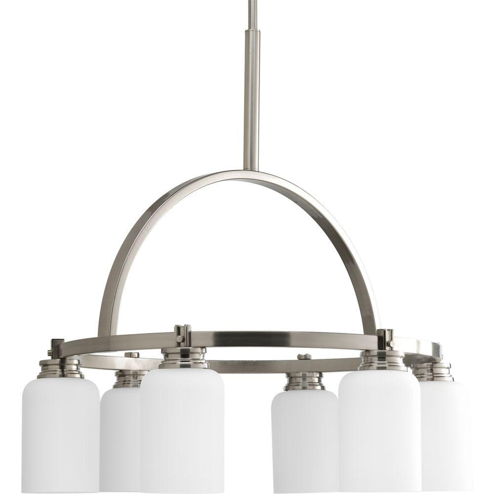 Progress lighting orbitz collection 6 light brushed nickel progress lighting orbitz collection 6 light brushed nickel chandelier with shade with opal etched glass arubaitofo Choice Image