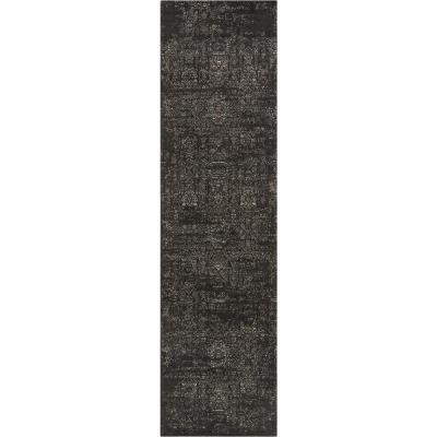 LaaLaa Jesi Vintage Distressed Damask Pattern Flat-Weave Black 2 ft. 7 in. x 9 ft. 10 in. Runner Rug