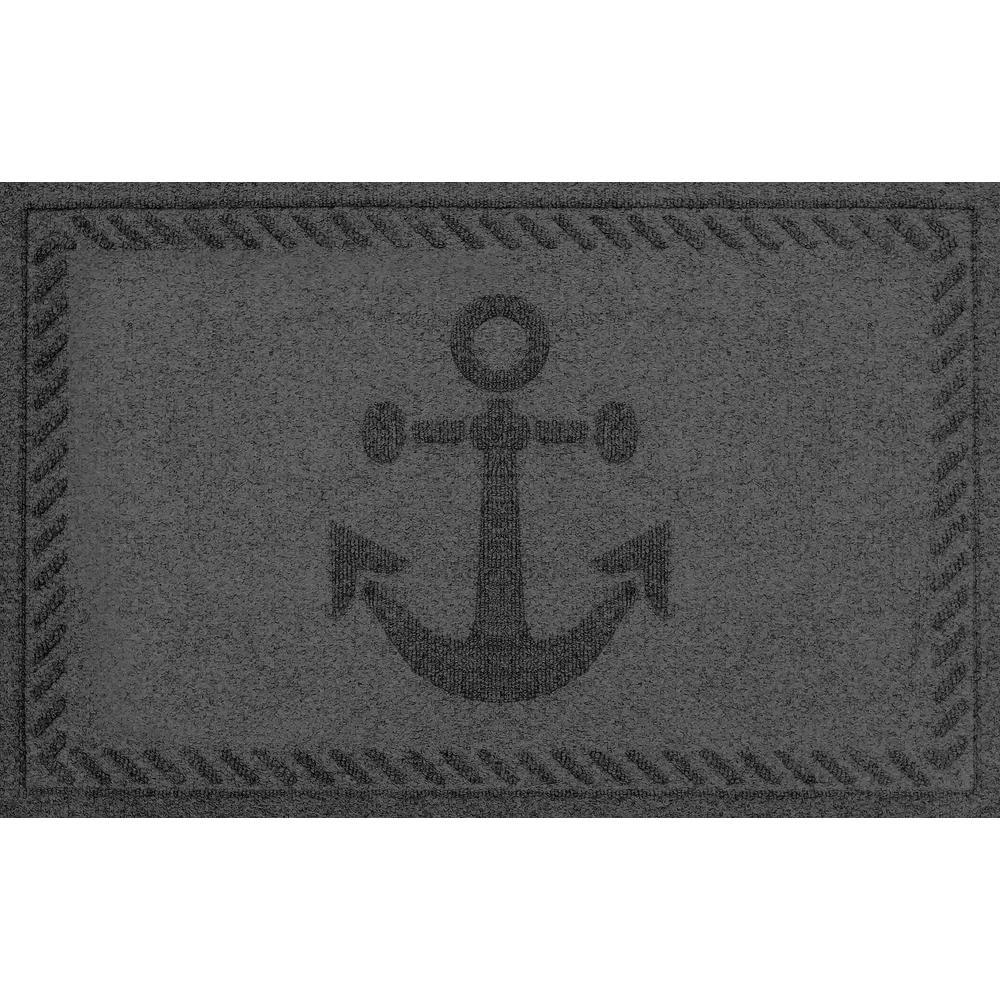 Aqua Shield Charcoal 24 in. x 36 in. Ships Anchor Polypropylene Door Mat
