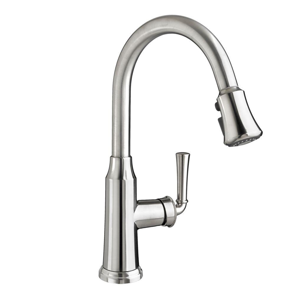 Portsmouth Single-Handle Pull-Down Sprayer Kitchen Faucet in Stainless Steel