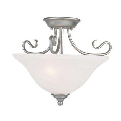 2-Light Brushed Nickel Flushmount with White Alabaster Glass Shade