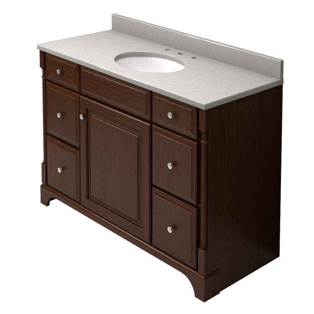 KraftMaid 48 in. Vanity in Autumn Blush with Natural Quartz Vanity Top in Zircon and White Sink