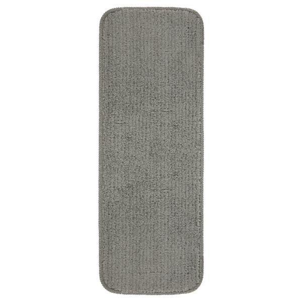 Sweet Home Stores Sweethome Stores Luxury Collection Gray 9 in. x 26 in. Rubber Back Shaggy Stair Tread Cover (Set of 7)