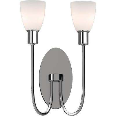 Concord 2-Light 4.5 in. Polished Nickel Indoor Vanity Wall Sconce or Wall Mount with Frosted Glass Bell Shades