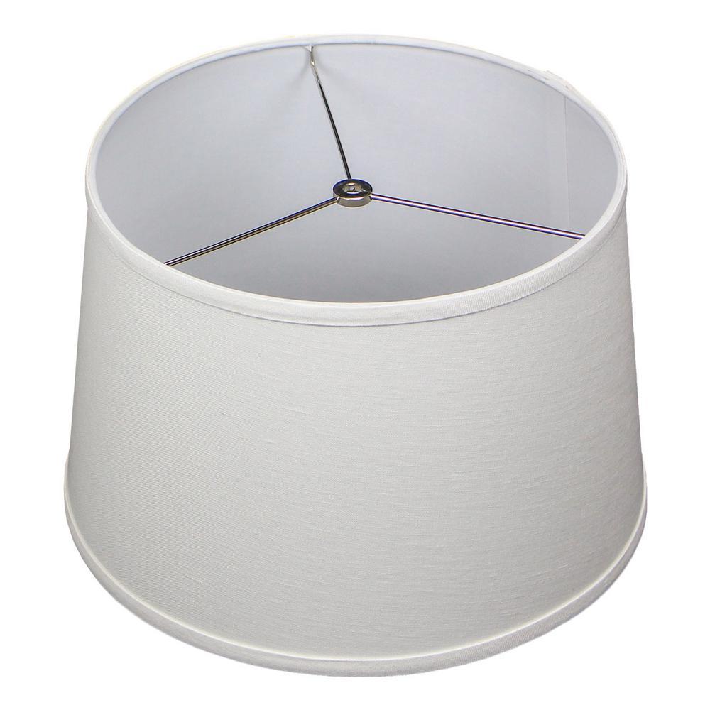 Fenchel Shades 13 in. Top Diameter x 15 in. Bottom Diameter x 10 in. Slant Empire Lamp Shade - Designer Linen Off White