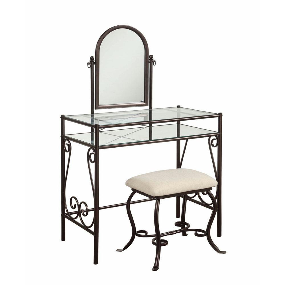 Linon Home Decor Clarisse 2-Piece Dark Metal Vanity Set 58950MTL-01-KD-U
