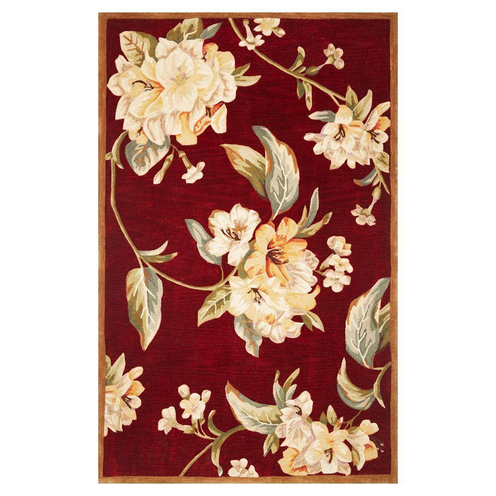 Kas Rugs Floral Perfection Ruby 8 ft. 6 in. x 11 ft. 6 in. Area Rug